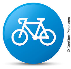 Bicycle icon cyan blue round button