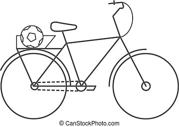 Bicycle icon. Flat monochrome bike icon with a ball in the trunk for travel. Vector isolated illustration.