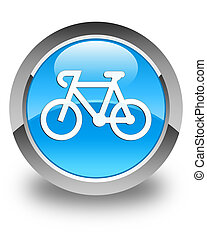 Bicycle icon glossy cyan blue round button