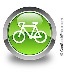 Bicycle icon glossy green round button