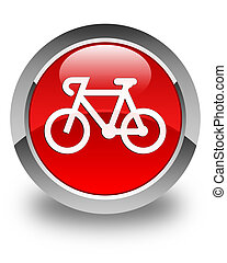 Bicycle icon glossy red round button