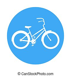 Bicycle icon. In the style of a road sign. Blue circle on a white background.