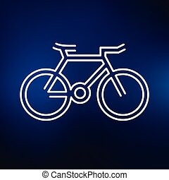 Bicycle icon. mountain bike sign. Cycle symbol. Thin line icon on blue background. Vector illustration.