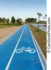 Bicycle icon painted on a cycling track