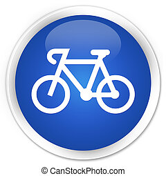 Bicycle icon premium blue round button