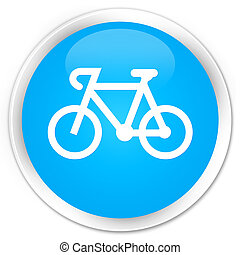 Bicycle icon premium cyan blue round button