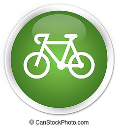 Bicycle icon premium soft green round button
