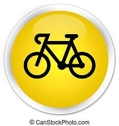 Bicycle icon premium yellow round button