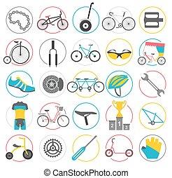Bicycle icon set. Bike types. Vector illustration flat design