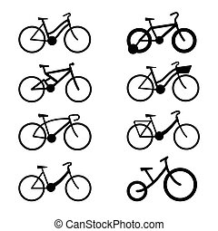 bicycle icon set with shadow