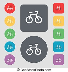 Bicycle icon sign. A set of 12 colored buttons. Flat design. Vector