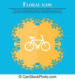 bicycle icon sign. Floral flat design on a blue abstract background with place for your text. Vector