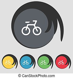 Bicycle icon sign. Symbol on five colored buttons. Vector