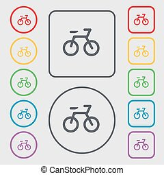 Bicycle icon sign. symbol on the Round and square buttons with frame. Vector