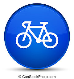 Bicycle icon special blue round button