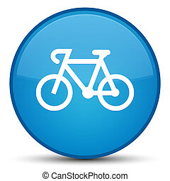 Bicycle icon special cyan blue round button