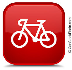 Bicycle icon special red square button