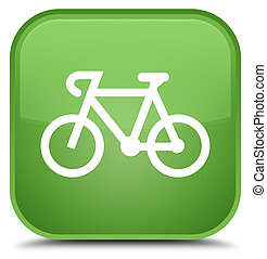 Bicycle icon special soft green square button