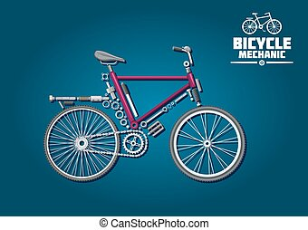 Bicycle mechanics symbol with detailed parts, accessories and powertrain system, arranged into silhouette of a city bike. Great for ecological transport, recreation activity or sporting design usage
