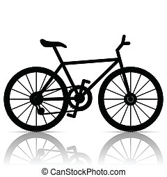 Bicycle - Illustration of silhouette of a bicycle on a white...