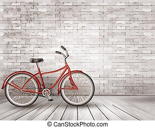 Bicycle in front of a grey brick wall.