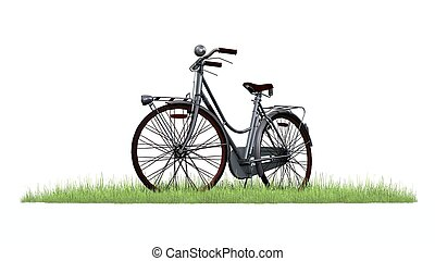 bicycle in green grass on white background