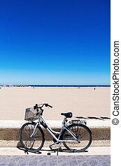 bicycle in La Malvarrosa beach, Valencia, Spain
