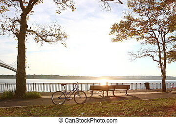 Bicycle in the autumn park close to the Verrazano-Narrows...