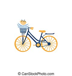 Bicycle isolated on white. Bike with front wicker basket and flower