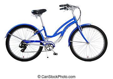 bicycle isolated - blue bicycle isolated on white background