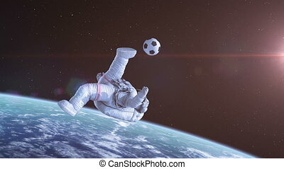 Bicycle Kick in Space, Astronaut Shoots on Goal