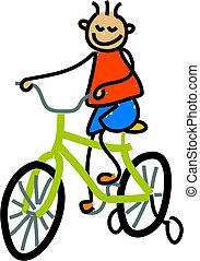 little boy learning to ride his new bike - toddler art series