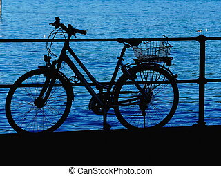 bicycle lake silhouette