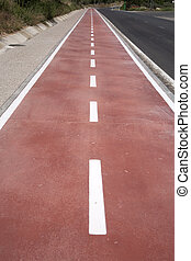 Bicycle Lane against Road Background