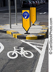 Bicycle lane and bicycle sign.
