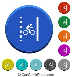 Bicycle lane round color beveled buttons with smooth surfaces and flat white icons