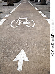 Bicycle Lane - Bicycle lane in Nordau Avenue, Tel-Aviv,...