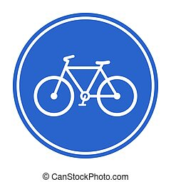 Bicycle lane, bicycle route, Blue bicycle lane sign. Vector illustration isolated on white background