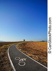 Bicycle lane, Bike lane close to prepared land