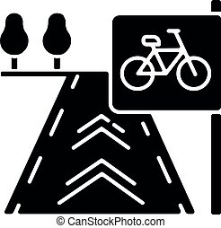Bicycle lane black glyph icon. Path to exercise on bike. Pedestrian street. Road for fitness activity. Sidewalk for pedal vehicle. Silhouette symbol on white space. Vector isolated illustration
