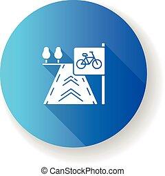 Bicycle lane blue flat design long shadow glyph icon