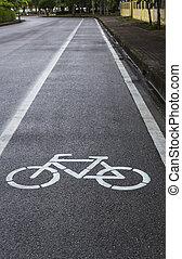 Closeup bicycle lane