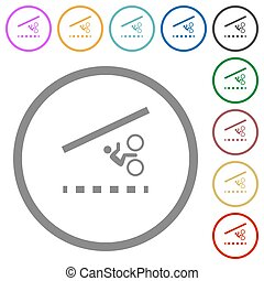 Bicycle lane flat color icons in round outlines on white background