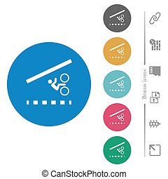 Bicycle lane flat white icons on round color backgrounds. 6 bonus icons included.