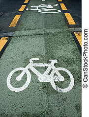 Green bicycle lane with white bycicle sign