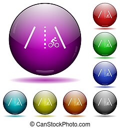 Bicycle lane icons in color glass sphere buttons with shadows