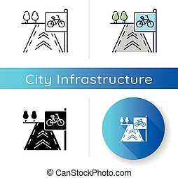 Bicycle lane icon. Path to exercise on bike. Pedestrian street. Road for fitness activity. Sidewalk for pedal vehicle. Linear black and RGB color styles. Isolated vector illustrations