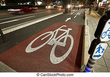 Bicycle lane in a city