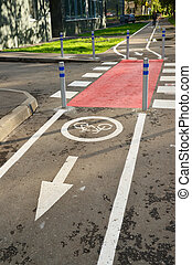 Bicycle lane in city of Khimki, Russia - Bicycle lane in the...
