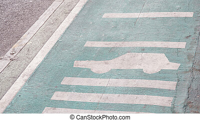 Bicycle lane in Thailand with sign careful car